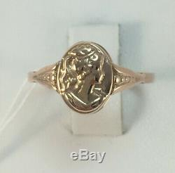 Chic Rare Bague Vintage Cameo Ussr Russe Or Rose Massif Antique 583 14k Taille 8