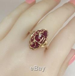 Chic Rare Vintage Unique Urss Russe Soviétique Bague En Or Massif Ruby 583 14k Taille 9