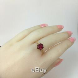Chic Vintage Soviétique Urss Unique Or Rose Massif 583 14k Bague Rubis Russe Taille 9