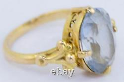 Cute Vintage Ussr Soviet Russian 583 14k Solid Rose Gold Ring Topaz Taille 6,5