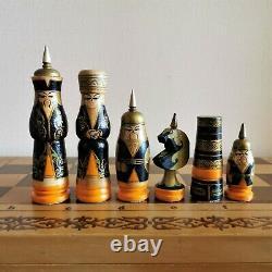 Échecs Soviétique Enfants Mis L'art Populaire Russe En Bois Antique Vintage Urss Orientale