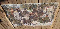 Énorme Vintage Russe Ww2 Peinture Repos Après La Bataille Art De Propagande Soviétique