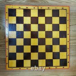 Ensemble D'échecs De Style Russe En Bois Peint À La Main Urss Vintage Soviétique Antique