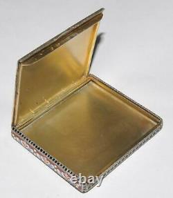 Étui À Cigarettes Soviétique Russe 875 Silver Enamel Royal Pill Box Kovsh Bowl Egg