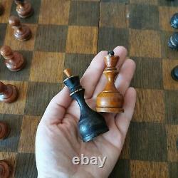 Fastship Soviétique Jeu D'échecs 50s Russian Vintage Urss En Bois Antique