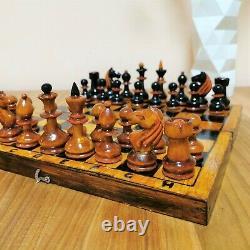 Fastship Vieux 40-50s Soviétique Jeu D'échecs En Bois Russe Vintage Urss Antique