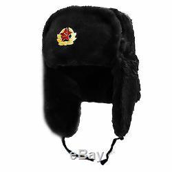 Fausse Fourrure Russe Chapeau Avec Insigne Soviétique En Noir