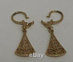 Filigrane Boucles D'oreilles Vintage Russe Urss Bijoux Soviétique En Or 14k 585 Étoiles