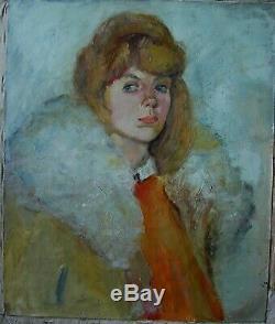 Huile Soviet Russe Ukrainien Peinture Impressionisme Portrait Femme Fille Femme