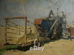 Huile Soviétique De Russie Ukraine Peinture Cueilleur Réalisme Paysage Champ De Maïs De 50 Ans