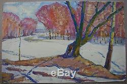 Huile Soviétique De Russie Ukraine Peinture Impressionnisme Arbres D'hiver