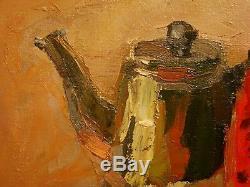 Huile Soviétique Russe Ukraine Peinture Encore Théière Melon Vie Impressionisme