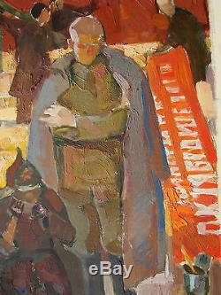 Huile Soviétique Russe Ukraine Peinture Sans-abri Du Réalisme Socialiste