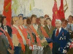 Huile Soviétique Russe Ukrainien Peinture Défilé De Démonstration Genre Gens Réalisme