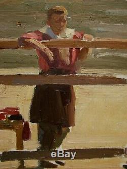 Huile Soviétique Russe Ukrainien Peinture Des Années 1950 Figure Portrait De L'enfant De Réalisme