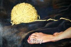 Huile Sur Toile Originale Russe Réalisme Socialiste Urss Peinture Nus 2011