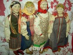 Lovely Vintage, Étiquette En Tissu Russe Union Soviétique Stockinette 10 Poupée, Tous Les Orig
