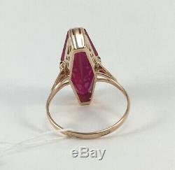Luxe Vintage Marquise Urss Bague Russe Soviétique Solid Gold Ruby 583 Taille 14k 9
