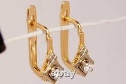 Luxury Vintage Soviet Ussr Boucles D'oreilles En Or Russe Yakutia Diamond 585 14k 0.2ct