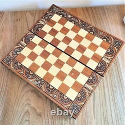 Main Vintage En Bois Sculpté Jeu D'échecs Soviet Urss Échecs Russe Antique