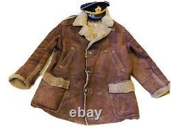 Manteau D'uniforme De Pilote De Marine Soviétique Vintage (peau De Mouton)+chapeau