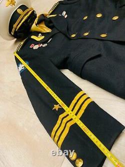 Manteau Uniforme, Veste, Officier De Marine Soviétique Russe Capitaine De Marine Rare + Chapeau