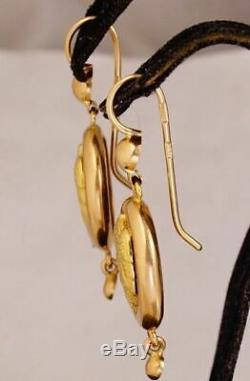 Mignon Rare Vintage Samovars Boucles D'oreilles Urss Soviétique Russe Or Massif 583 Rose 14k