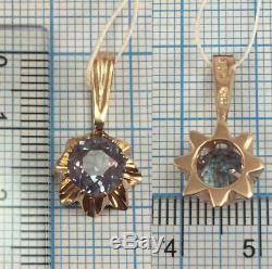 Mignon Rare Vintage Urss Russe Or Soviétique 583 14k Pendentif Royal Alexandrite