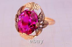 Mignon Vintage Original Urss Russie Rose Soviétique Bague En Or Corundum 583 14k Taille 7