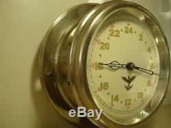 Montre D'horloge De Bateau De Navire De Marine Vintage Des 24 Heures 1956 Russie Soviétique Militaire