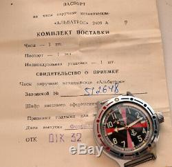Montre Militaire Russe Salle Radio Diver Amphibian Vostok Urss Sovietique Box & Paper