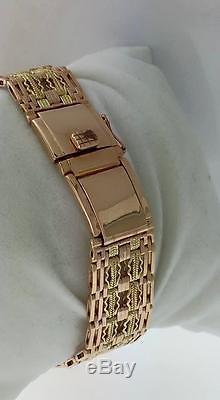 Montre Russe Ancienne Cccp Raketa 14k Or Rose Bracelet Deux Tons Tisser Bracelet Soviétique
