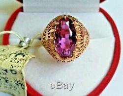New Vintage Bague Améthyste Urss Rose Rose Or 583 14k Étoile Soviétique Russe 6,4g