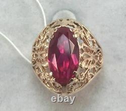 Nice Original Vintage Ussr Russian Soviet Rose Gold 583 14k Ring Ruby Taille 9