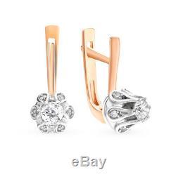 Nouveau Russe En Or Rose Massif Boucles D'oreilles 14k Diamants Bijoux Fine Urss Russie