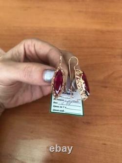 Nouveau Style Russe Soviet Urss 14k 583 Boucles D'oreilles En Or. Ruby Large