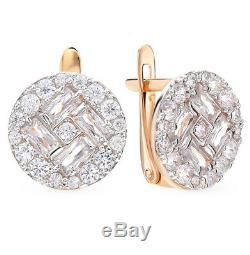 Nouvelles Boucles D'oreilles En Or Rose Massif De Russie 14k 3.03g De Beaux Bijoux En Diamants Urss Russie
