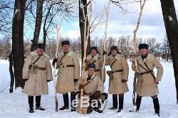 Officier Russe Armée Manteau En Peau De Mouton Hiver Urss Tulup Bekesha Shearling Jacket