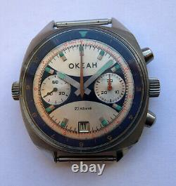 Okean Ocean Vintage Urss Russie Montre Soviétique Poljot Chronographe 3133 7920