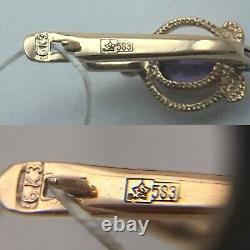 Original Vintage Alexandrite Soviétique Russe Or Rose Boucles D'oreilles 583 Urss 14k