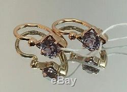 Original Vintage Alexandrite Soviétique Russe Or Rose Boucles D'oreilles 585 Urss 14k