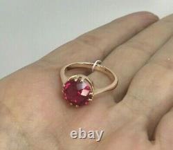 Original Vintage Soviétique Anneau Russe Avec Ruby Fait De L'or Rose 583 Urss 14k