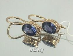 Original Vintage Soviétique Bleu Russe Corindon Or Rose Boucles D'oreilles 583 Urss 14k