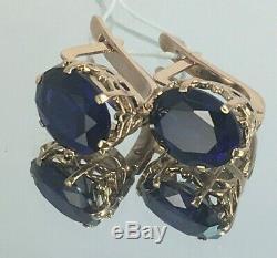 Original Vintage Soviétique Russe Foncé Or Bleu Corindon Boucles D'oreilles 583 Urss 14k