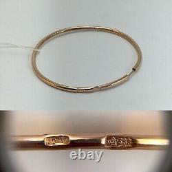 Original Vintage Soviétique Russe Or Rose Boucles D'oreilles 583 Urss 14k, Solid Gold