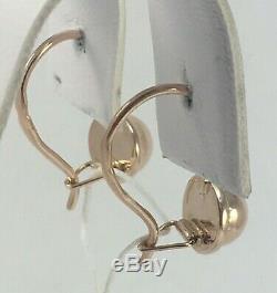 Original Vintage Soviétique Russe Or Rose Boucles D'oreilles 583 Urss 14k, Solid Gold 583
