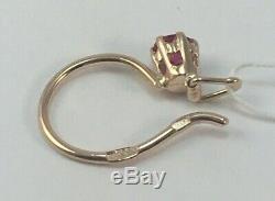 Original Vintage Soviétique Russe Or Rose Rubis Boucles D'oreilles 583 Urss 14k, Solid Gold