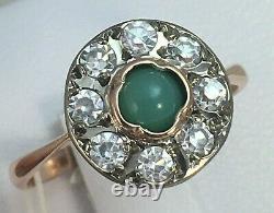 Original Vintage Soviétique Russe Turquoise Or Rose Naturel Bague 583 Urss 14k