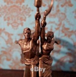 Ouvrier Et Femme Kolkhozienne Statue De Bronze Soviétique Figurine Russe Rare
