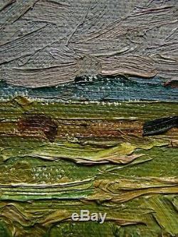 Peinture À L'huile Russe Soviétique D'ukraine Impressionnisme Paysage Vert Haymow Plié